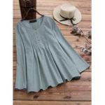 New Women Cotton Loose Solid Color Crew Neck Blouse
