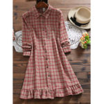 New Women Long Sleeve Button Turn-Down Collar Plaid Dress