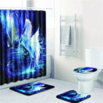 New Bathroom Horse Shower Curtain Toilet Cover Mat & Pedestal Rug Mat & Bath Nonslip Mat