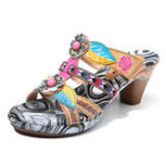 New SOCOFY Vintage Floral Slip On Casual Leather Heel Sandals
