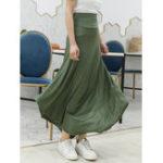 New Women Solid Color Irregular Hem Elastic Waist Skirts