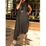 New Women Short Sleeve O-neck Solid Harem Jumpsuit