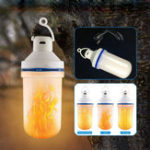 New 7W USB Rechargeable LED Camping Light Flame Effect Simulated Fire Light Bulb Decor