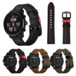 New 22mm Line Style Genuine Leather Watch Band Watch Strap for Huami Amazfit 2
