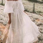New Women Casual Off Shoulder Solid Color Maxi Dress