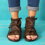 New Large Size Vintage Open Toe Casual Zipper Flat Sandals