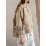 New Women Cotton Button Down High Low Hem Shirt