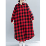 New Plaid Turn-down Collar Long Sleeve Women Maxi Shirt Dress
