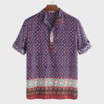 New Mens Ethnic Style Printed Half Sleeve Loose Casual T-shirts