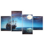 New Modern Canvas Print Painting Picture Home Decor Blue Sea Boat Wall Art Framed Paper