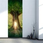 New 3D Tree Hole Door Sticker Mural PVC Waterproof Decals Home Wall Decorations
