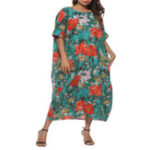 New Plus Size Floral Print O-neck Batwing Sleeve Baggy Dress