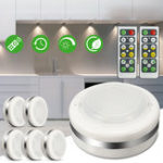New 6pcs 5 LED Wireless Night Light Remote Control Timing Closet Cabinet Puck Lamp