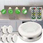 New 6pcs 5 LED Wireless Night Light Remote Control Timing Closet Cabinet Puck Lamp