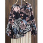 New Plus Size Floral Print Crew Neck Long Sleeve Blouse