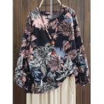 New Plus Size Floral Print Crew Neck Long Sleeve Blouse