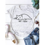 New Women Cartoon Cat Print Short Sleeve Cotton T-shirts