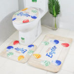 New Toilet Three-Piece Set Easter Rabbit Bathroom Set Non-slip Soft Bath Mat Lid Carpet Toilet Seat Covers
