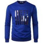 New Mens Fashion Solid Color Printing Overhead Casual Sweatshirt