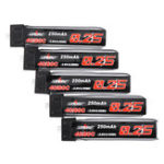 New 5Pcs URUAV 3.8V 250mAh 40C/80C 1S Lipo Battery PH1.25 Plug for RC Drone