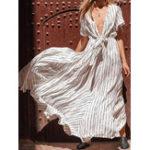 New Casual Loose V Neck Elastic Waist Striped Dress