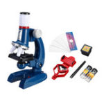 New 100X 400X 1200X Zoom Illuminated Monocular Plastic Biological Microscope for Kids