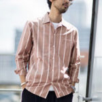 New Men Vertical Stripe Dual Pockets Cotton Loose Shirts