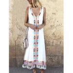 New Women Bohemian Printed V-neck Sleeveless Tassels Dress