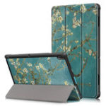 New Tri-Fold Printing Tablet Case Cover for Lenovo Tab E10 Tablet – Apricot Blossom