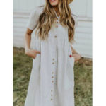 New Women Linen Stripe Button V-Neck Dress with Pockets