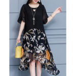 New Short Sleeve Floral Print Patchwork Chiffon Dress