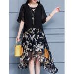 New Short Sleeve Floral Print Patchwork Chiffon Dress