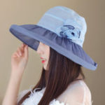 New Women Chiffon Flower Polyester UV Protection Bucket Cap