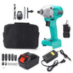 New 100V-240V Brushless Impact Wrench 14800mAH 360nm Electric Cordless Wrench Kit  Li-Ion Battery Rechargeable