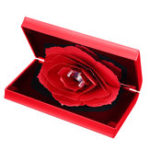 New Folding Rotating Rectangle Rose Ring Box Birthday Valentine's Day Jewelry Box