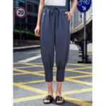 New Women Casual Elastic Waist Pleated Harem Pants with Pockets