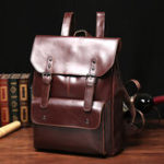 New Men And Women Retro Leather Large Capacity Backpack