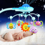 New Crib Mobile Musical Bed Bell With Animal Rattles Projection Early Learning Toys 0-12 Months