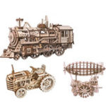 New ROBOTIME STEAM DIY Wooden Robot Toy Steam Train Airship Tractor Off Road Educational Toy Gift