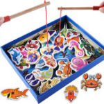 New 32Pcs Kids Wooden Magnetic Toys Fishing Game Set Fish Toys Early Educational Learning