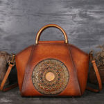 New Women Genuine Leather Vintage Totem Designer Handbag