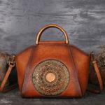 New Women Genuine Leather Vintage Totem Designer Handbag