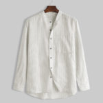 New Mens Striped Vintage Linen Pocket Design Shirts