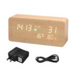 New Wooden LED PM2.5 Air Detector Digital Alarm Clock Calendar Temperature Humidity Air Quality Tester