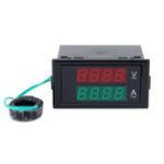 New DL69-2042 Dual AC Digital Ammeter Voltmeter LCD Panel Amp/Volt Meter With Back Case