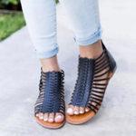 New US Size 5-12 Roman Hollow Out Zipper Peep Toe Flat Sandals