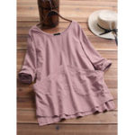 New Women Casual Cotton Solid Color Long Sleeve Blouse