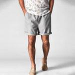 New Mens Casual Elastic Waist Cotton Linen Casual Short Pants