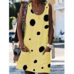 New Women Sleeveless Crew Neck Floral Print Casual Dress