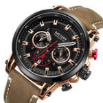 New MEGIR 2085 Military Date Chronograph Leather Men Watch